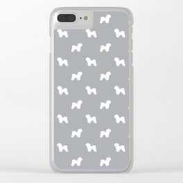 Bichon Frise dog pattern grey and white minimal pet patterns dog breeds silhouette Clear iPhone Case