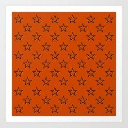 Orange stars pattern Art Print