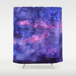 Galaxy Pattern Watercolor Shower Curtain