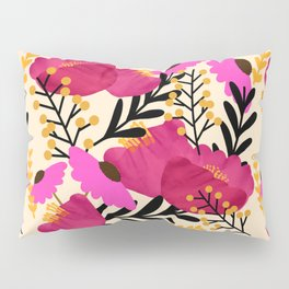 Vibrant Floral Wallpaper Pillow Sham