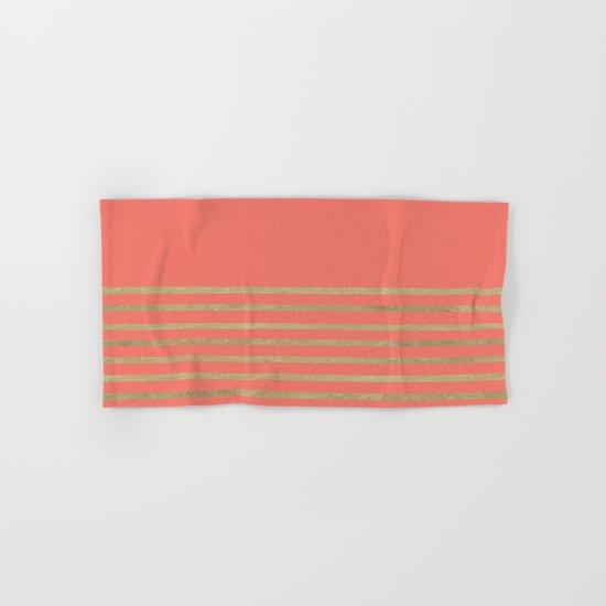 Peach and Gold Stripes Hand & Bath Towel