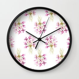 Purple Watercolor Flower Pattern Wall Clock