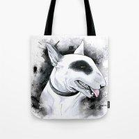 bull terrier Tote Bags featuring Bull Terrier by kitara