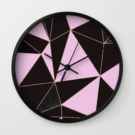 Geometrical elegant black pink watercolor rose gold stripes Wall Clock