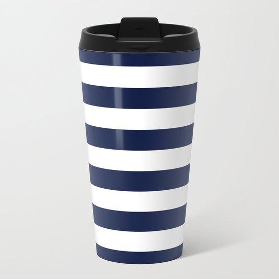 Indigo Navy Blue Bold Stripes Metal Travel Mug