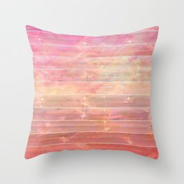 peachy pink distressed stained painted wood board wall Throw Pillow