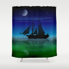 Sailing On A Sea of Green. Shower Curtain