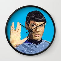 spock Wall Clocks featuring Spock by Connor Corbett