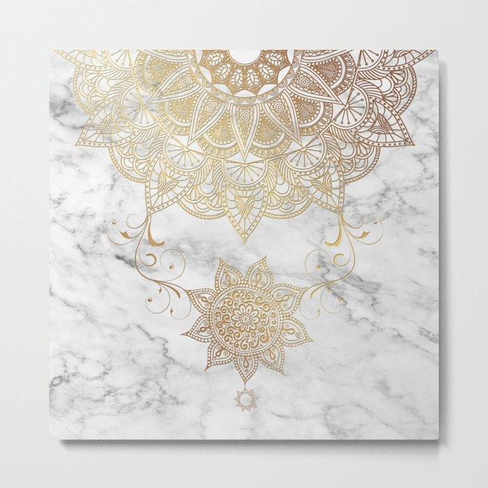 Mandala - Golden drop Metal Print
