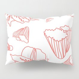 Pink Lily Flower Pattern on White Pillow Sham