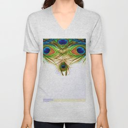 GORGEOUS BLUE-GREEN PEACOCK FEATHERS ART Unisex V-Neck