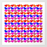 Colorful Hearts Pattern Art Print