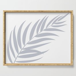 Light Pastel Gray White Coastal Frond Palm leaf Serving Tray