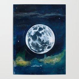 Full Moon Mixed Media Painting Poster