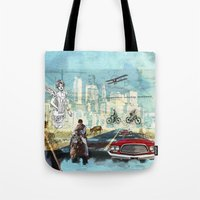 technology Tote Bags featuring  Transportation  technology by Design4u Studio