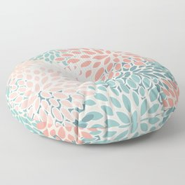 Festive, Floral Prints, Teal, Peach, Coral, Abstract Art, Colour Prints Floor Pillow