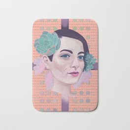Succulent woman portrait Bath Mat