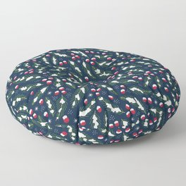 Winter Berries in Navy Floor Pillow