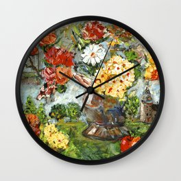 Flowers,  Fruit and a Cathedral Wall Clock