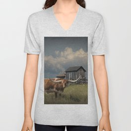 Longhorn Steer in a Prairie pasture by 1880 Town with Windmill and Old Gray Wooden Barn Unisex V-Neck