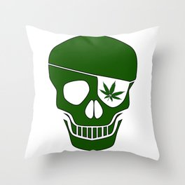 Canabis Patch Skull Throw Pillow