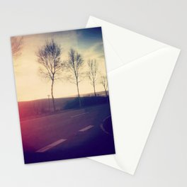 trees beside the road Stationery Cards
