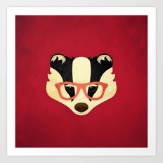 Hipster Badger: Red Art Print