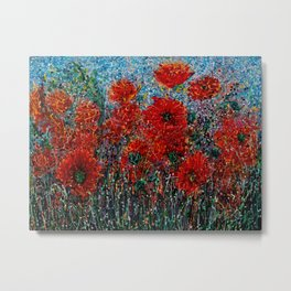 Wild Grass and Poppies Pollock Inspiration Metal Print