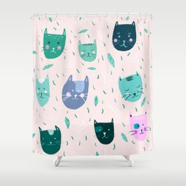 Little green cats on pink  Shower Curtain