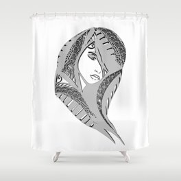 zentangle portrait 6 Shower Curtain