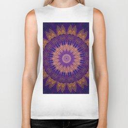 Dark Purple Gold Mandala Design Biker Tank