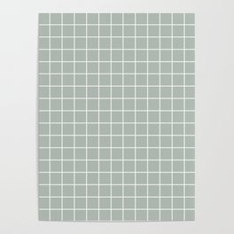 Ash gray - grey color - White Lines Grid Pattern Poster