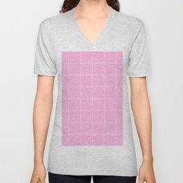 Graph Paper (White & Pink Pattern) Unisex V-Neck