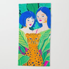 Girls and Panther in Tropical Jungle Beach Towel