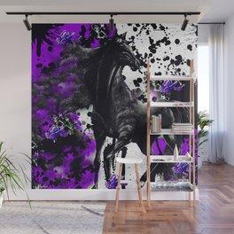 HORSE BLACK AND PURPLE THUNDER INK SPLASH Wall Mural