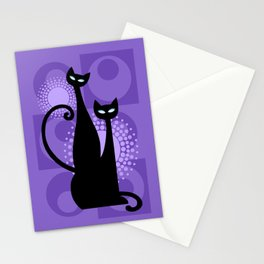 Purple Paradise Atomic Age Black Kitschy Cats Stationery Cards