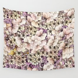 Cream Colored Flowers with Muted Plumb Wall Tapestry