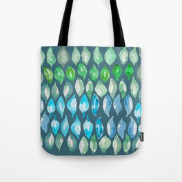 Green & Blue Jungle simple shapes leaves_Hand Painted watercolour & ink Tote Bag