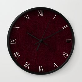 Claret leather sheet textured abstract Wall Clock