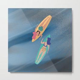 Surf Sisters - Muted Ocean Color Girl Power Metal Print
