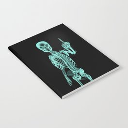 X-ray Bird / X-rayed skeleton demonstrating international hand gesture Notebook