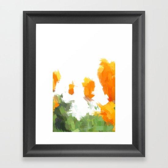 BLOSSOMS - ORANGE GREEN Framed Art Print