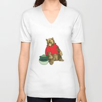 pooh V-neck T-shirts featuring Pooh! by Pieterjan Arends