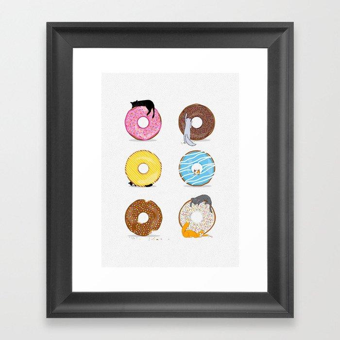 Cats and Donuts Gerahmter Kunstdruck