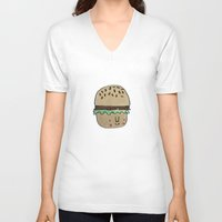 burger V-neck T-shirts featuring Burger by Tuesday Logan