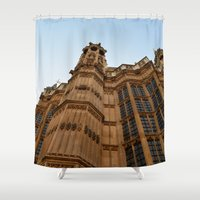 downton abbey Shower Curtains featuring Abbey Wall by Chalene Malekoff