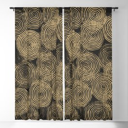 Radial Block Print in Charcoal and Gold Blackout Curtain