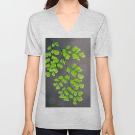 Maidenhair Fern on Gray Unisex V-Neck