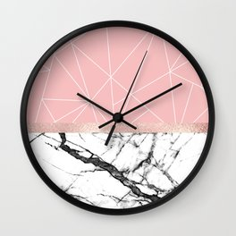 Blush Pink Geometric Triangles Rose Gold Marble Wall Clock