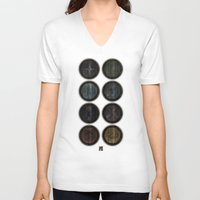 skyrim V-neck T-shirts featuring Shield's of Skyrim by VineDesign